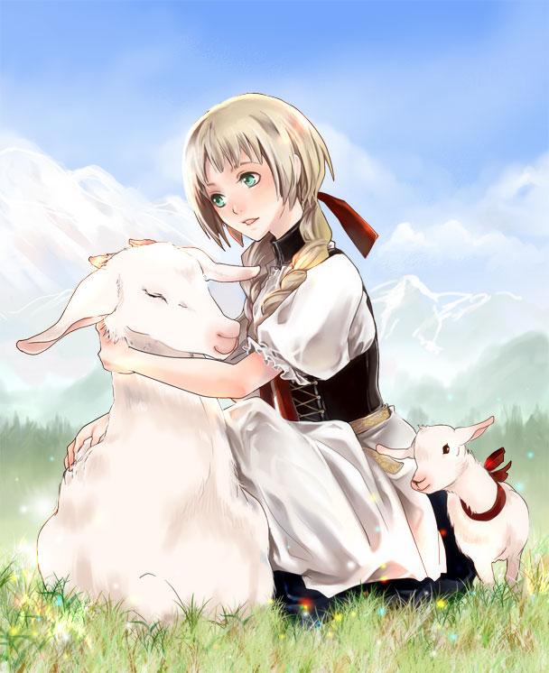 Tags: Anime, nanami (Pixiv240179), Axis Powers: Hetalia, Liechtenstein, Goat