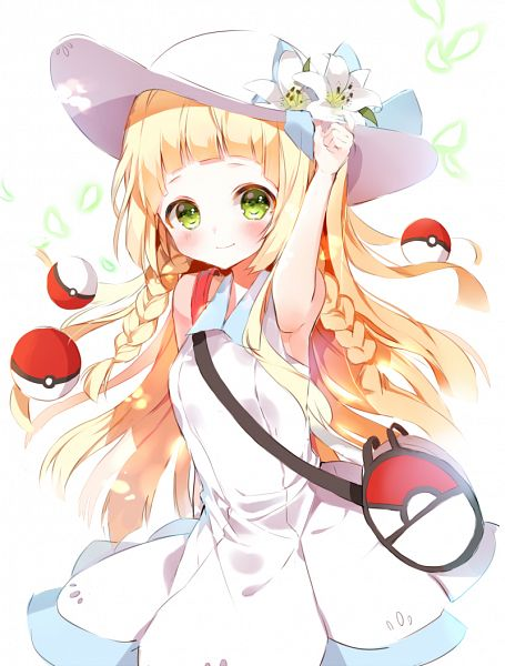 Tags: Anime, BR (Pixiv6253024), Pokémon Sun & Moon, Pokémon, Lillie (Pokémon), White Headwear, Hat Flower