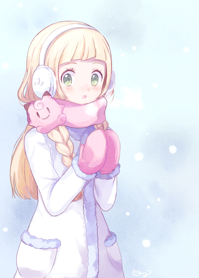 Tags: Anime, May (Pixiv Id 233774), Pokémon Sun & Moon, Pokémon, Lillie (Pokémon), Clefairy, Pink Handwear, Breath, Pink Gloves, Mittens, Tumblr, PNG Conversion, Fanart