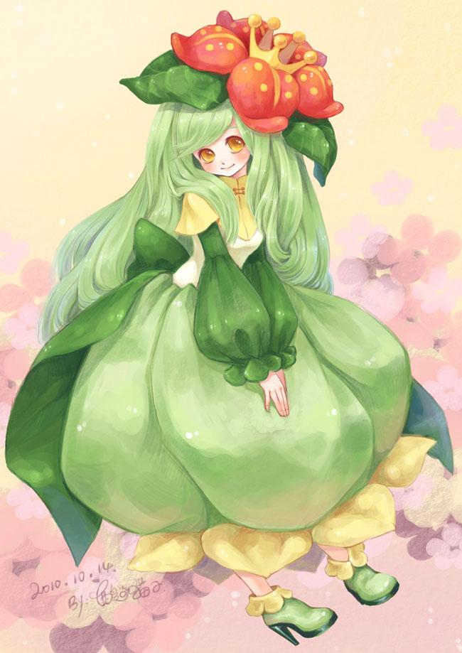 Tags: Anime, Sanmi Tenten, Pokémon, Lilligant, Pixiv, Mobile Wallpaper, Fanart
