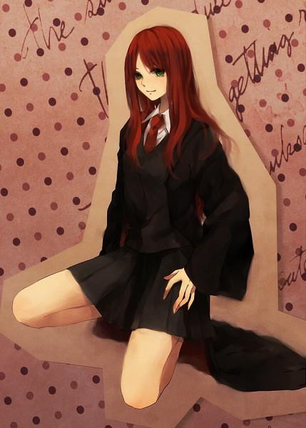 Tags: Anime, Kurosu Juu, Harry Potter, Lily Evans, V-neck, Open Coat, Black Outerwear