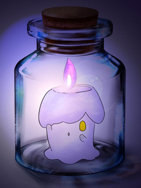 Tags: Anime, Pixiv Id 2715984, Pokémon, Litwick, Cork, In a Bottle, Pixiv Bottle, Pixiv
