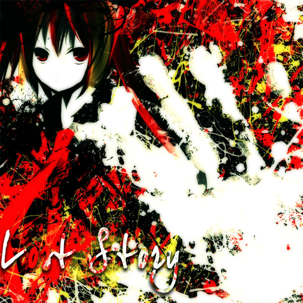 Tags: Anime, Meola, VOCALOID, Hatsune Miku, Hand Print, Abstract Background, Red Streak, Lost Story, Pixiv, Fanart, Yuyoyuppe
