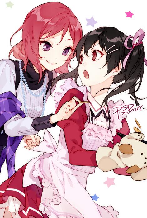 Tags: Anime, PSD, Love Live!, Nishikino Maki, Yazawa Niko, Mobile Wallpaper, Fanart From Pixiv, Pixiv, Fanart