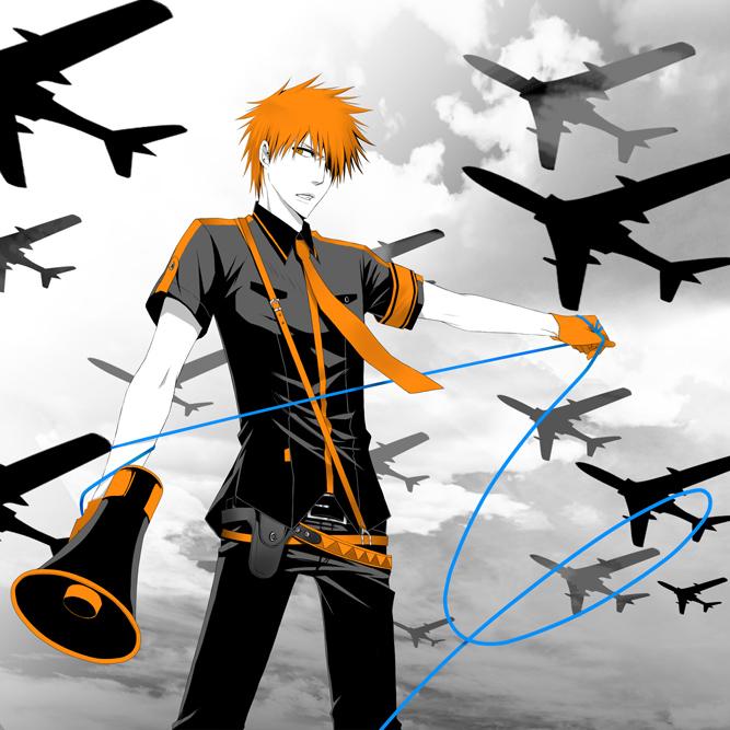Tags: Anime, Pixiv Id 83019, BLEACH, Kurosaki Ichigo, Spot Color, Megaphone, Airplane