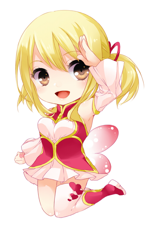 Tags: Anime, Pixiv Id 553601, FAIRY TAIL, Lucy Heartfilia, Pink Ribbon, Saluting