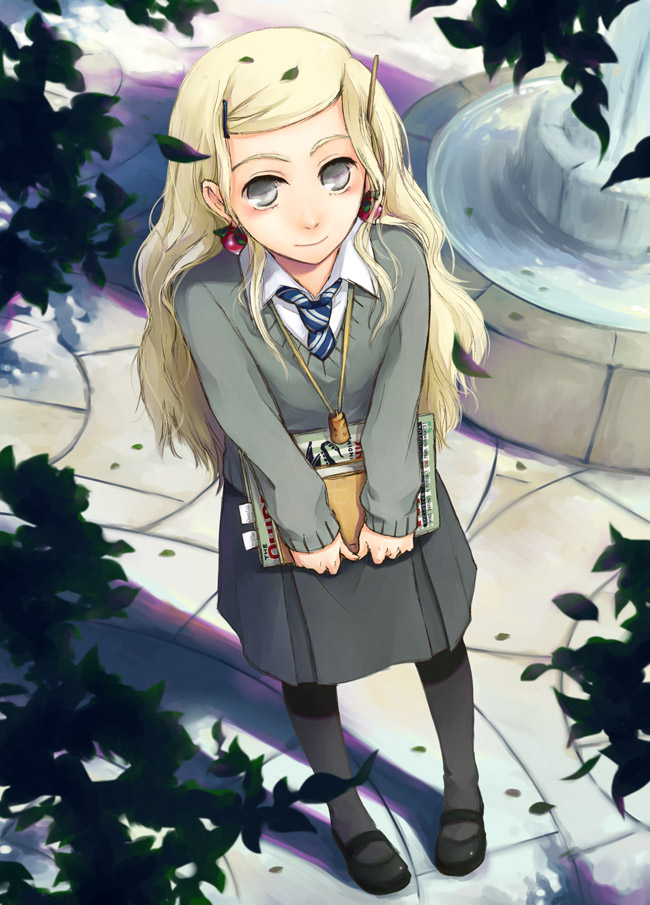 Tags: Anime, Hakumo, Harry Potter, Luna Lovegood, Magazine (Object), Fountain, Gray Skirt, Gray Legwear, V-neck, Cork, Radish, Pixiv, Mobile Wallpaper
