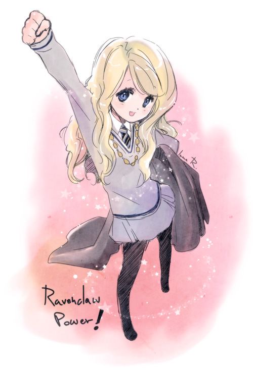 Tags: Anime, Inma R., Harry Potter, Luna Lovegood, Gray Skirt, V-neck, Mobile Wallpaper, deviantART, Ravenclaw House
