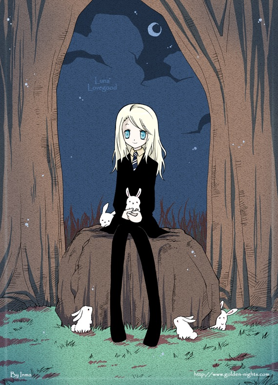 Tags: Anime, Inma R., Harry Potter, Luna Lovegood, X (Symbol), :X, V-neck, Sitting On Rock, Mobile Wallpaper, Ravenclaw House