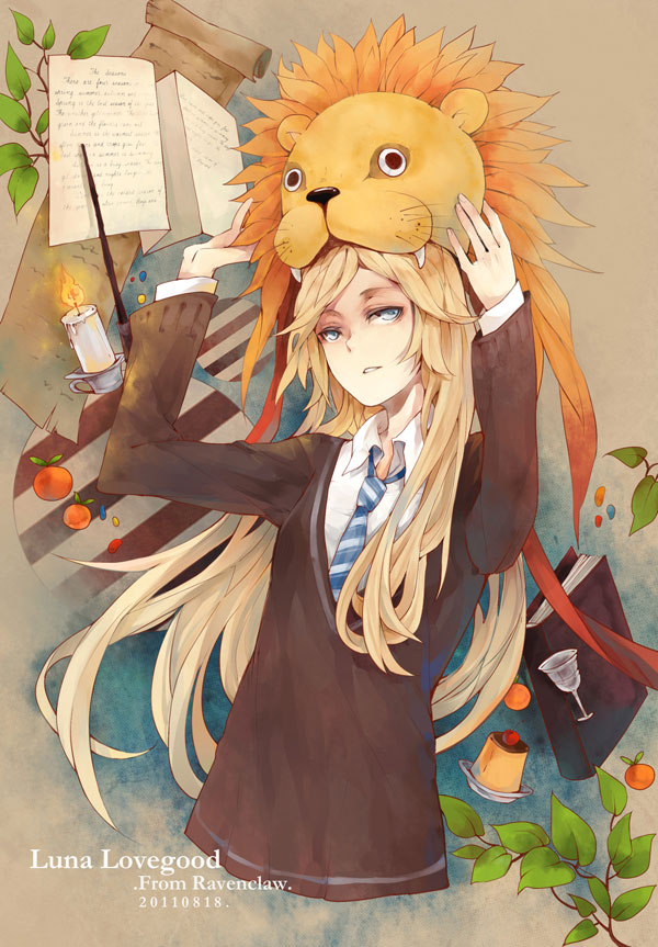 Tags: Anime, Dk.J, Harry Potter, Luna Lovegood, Stuffed Lion, Lion Hat, Eyes Half Closed, Pudding, Jelly Beans, Date, Mobile Wallpaper, Ravenclaw House