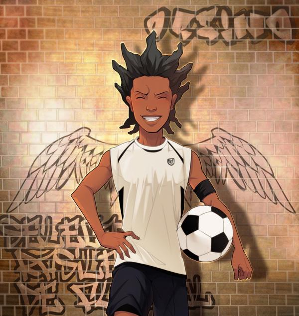 Tags: Anime, Pixiv Id 279347, Inazuma Eleven, Mac Roniejo, Brick Wall, Faux Wings, Graffiti, Fanart From Pixiv, Pixiv, Fanart