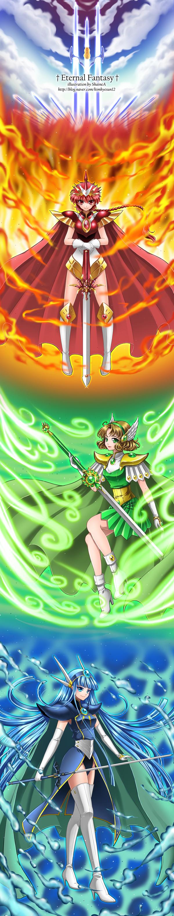 Tags: Anime, ShaineA, Magic Knight Rayearth, Shidou Hikaru, Hououji Fuu, Ryuuzaki Umi, Rapier