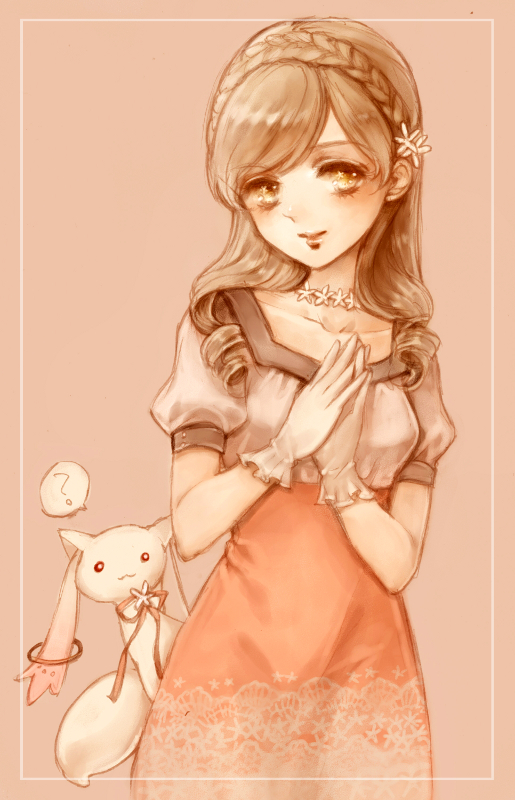 Tags: Anime, Yukishiro, Mahou Shoujo Madoka☆Magica, Tomoe Mami, Kyubee, Mobile Wallpaper, Magical Girl Madoka Magica