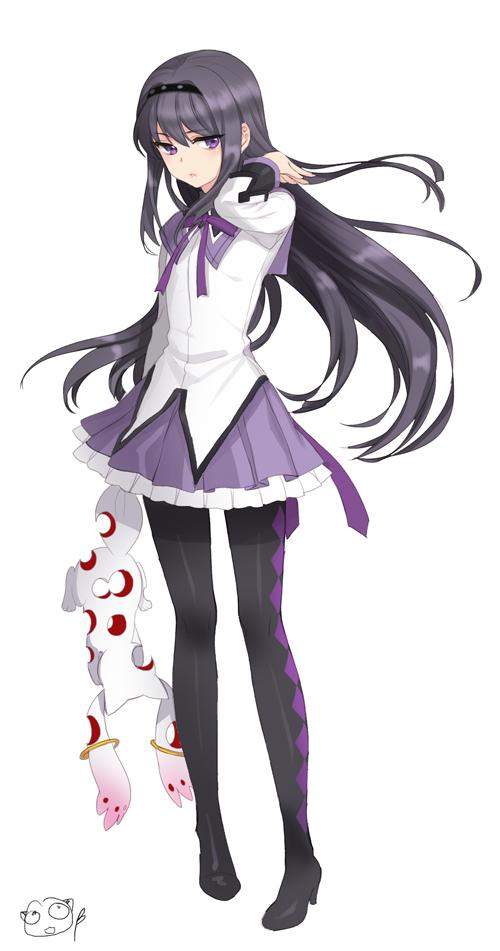 Tags: Anime, briska, Mahou Shoujo Madoka☆Magica, Kyubee, Akemi Homura, Fanart From Pixiv, Pixiv, Fanart, Magical Girl Madoka Magica