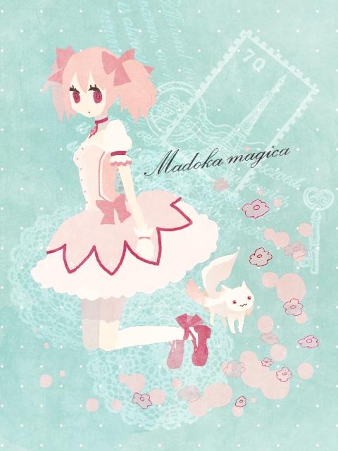 Tags: Anime, Natu (Pixiv 672165), Mahou Shoujo Madoka☆Magica, Kyubee, Kaname Madoka