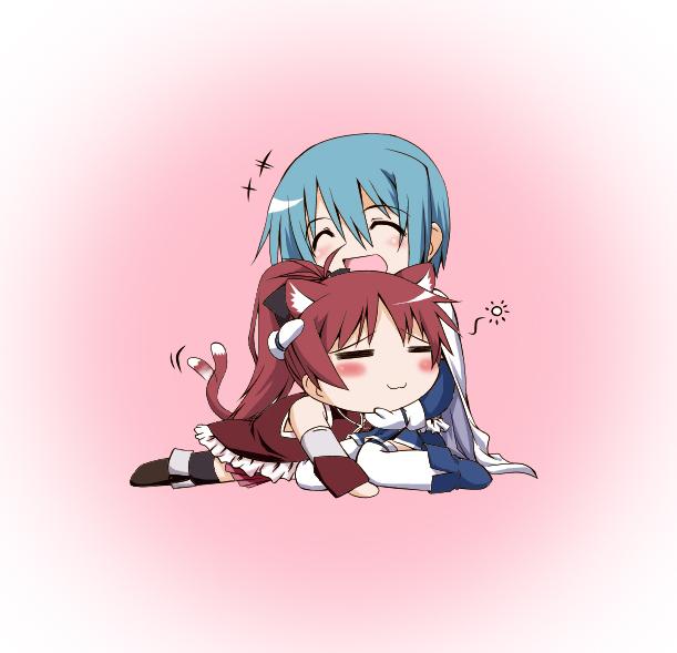 Tags: Anime, Tsukimi Satonaka, Mahou Shoujo Madoka☆Magica, Sakura Kyouko, Miki Sayaka, Caressing, Magical Girl Madoka Magica