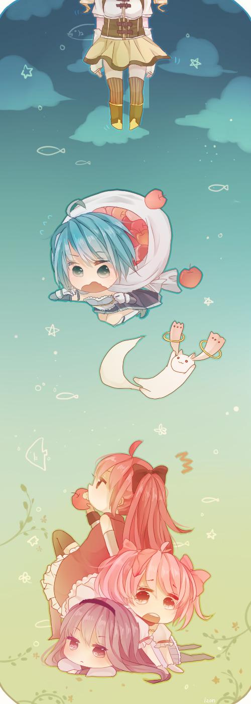 Tags: Anime, Makishimu, Mahou Shoujo Madoka☆Magica, Tomoe Mami, Miki Sayaka, Kaname Madoka, Sakura Kyouko, Akemi Homura, Kyubee, Pixiv, Fanart
