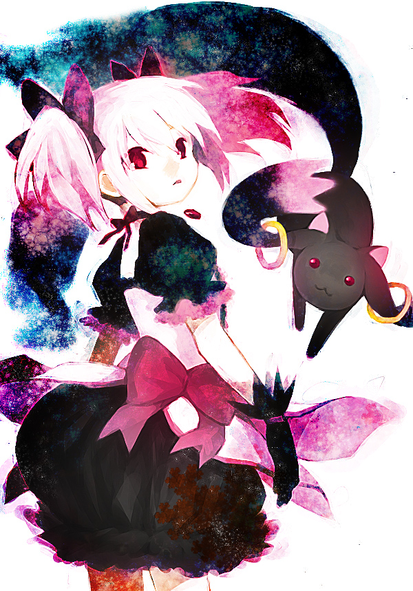 Tags: Anime, hakusai, Mahou Shoujo Madoka☆Magica, Kyubee, Kaname Madoka, Mobile Wallpaper, Magical Girl Madoka Magica