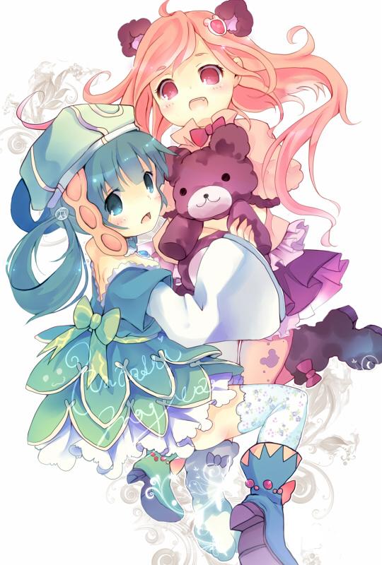 Tags: Anime, Kedama Milk, Mahou Shoujo Madoka☆Magica, Tibetan Girl (Madoka Magica), Girl with Bear (Madoka Magica), Fanart, Fanart From Pixiv, Revision, Pixiv