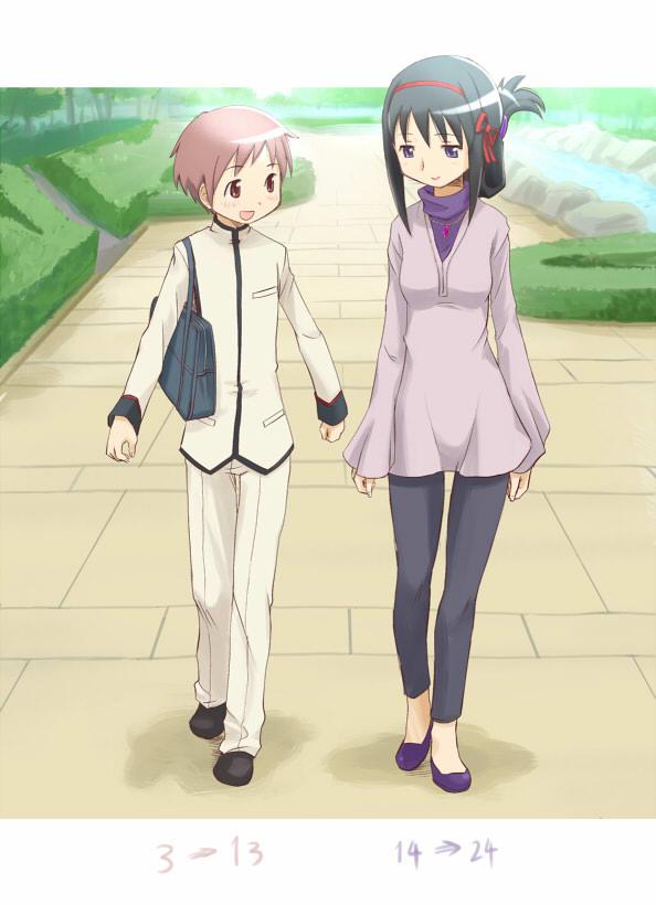 Tags: Anime, Ugai Yuichi, Mahou Shoujo Madoka☆Magica, Kaname Tatsuya, Akemi Homura, Mobile Wallpaper, Magical Girl Madoka Magica