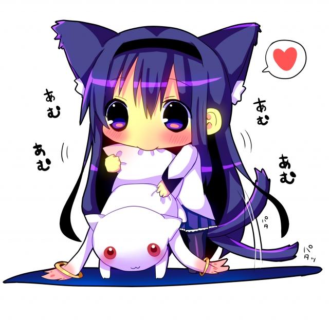 Tags: Anime, Hina Hina, Mahou Shoujo Madoka☆Magica, Akemi Homura, Kyubee