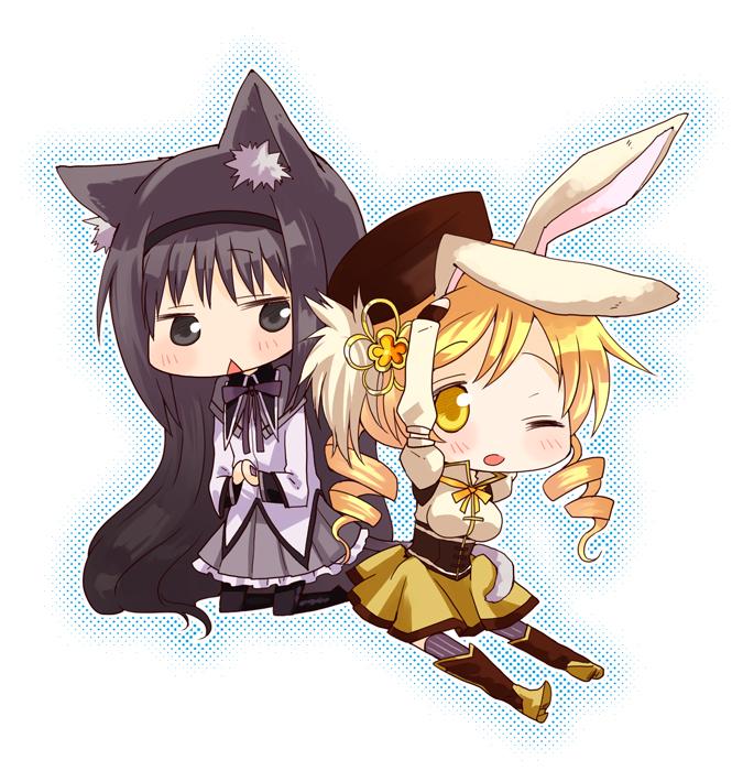 Tags: Anime, Myama, Mahou Shoujo Madoka☆Magica, Akemi Homura, Tomoe Mami
