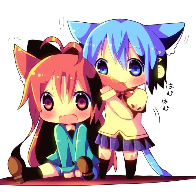 Tags: Anime, Hina Hina, Mahou Shoujo Madoka☆Magica, Miki Sayaka, Sakura Kyouko, Ear Nibbling