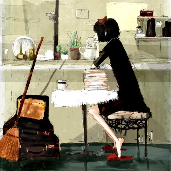 Tags: Anime, 36 (Artist), Majo no Takkyuubin, Kiki (Majo no Takkyuubin), Cactus, Pixiv, Fanart, Kiki's Delivery Service