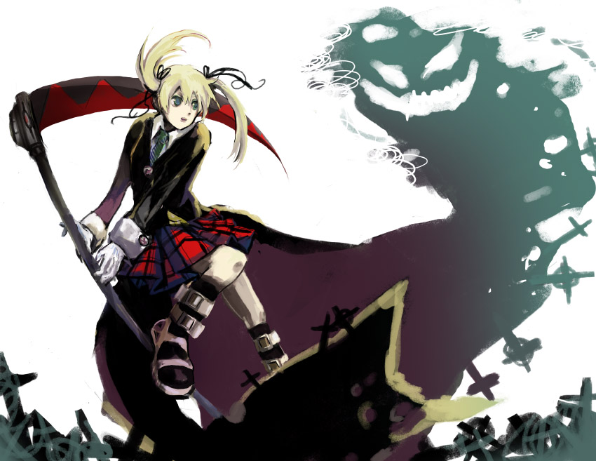 Tags anime soul eater maka albarn cross plaid scythe