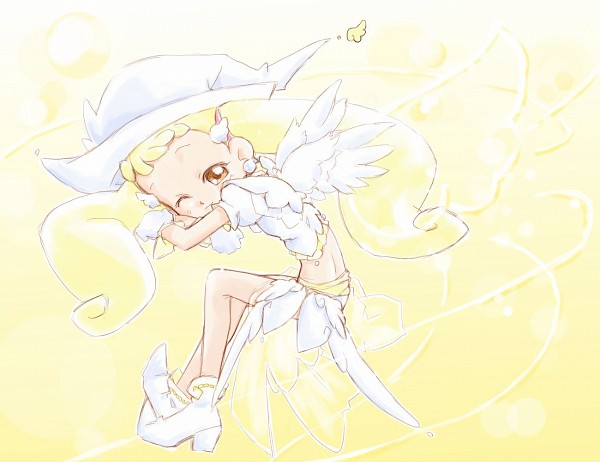 Tags: Anime, Angel, See Through Clothes, Ojamajo DoReMi, Makihatayama Hana, Yellow Background, Gradient Background