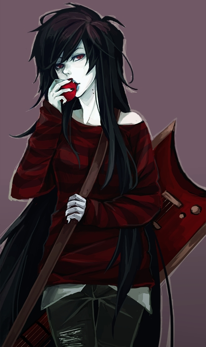 Tags: Anime, Nori-mori, Adventure Time, Marceline Abadeer, Bass Guitar, Bite Marks, Replacement Request, Fanart, Fanart From Tumblr, Tumblr, Mobile Wallpaper