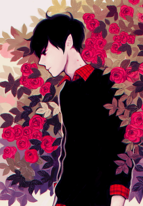 Tags: Anime, yoonmi, Adventure Time, Marshall Lee the Vampire King, Bite Marks, Black Sweater, Rose Bush, Fanart, PNG Conversion, Pixiv, Mobile Wallpaper, Fanart From Pixiv