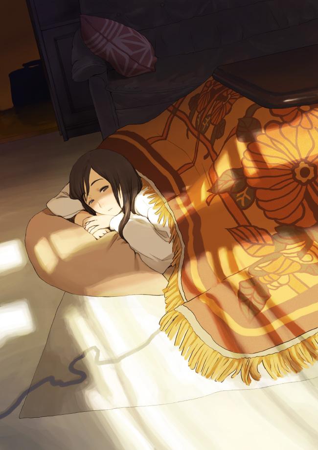 Tags: Anime, Marutar, Kotatsu, Sunbeam, Table, Pillow