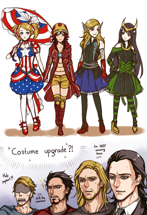Tags: Anime, Pinkstripedmellon, Iron Man, The Avengers, Loki Laufeyson, Thor Odinson, Steven Rogers, Iron Man (Character), Captain America, Yellow Shorts, Yellow Footwear, Reaction, deviantART