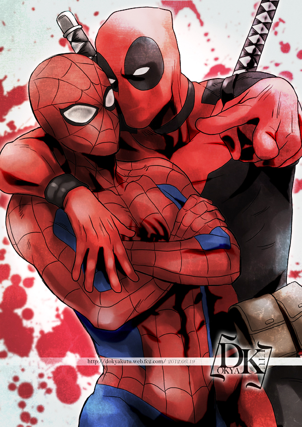 Tags: Anime, Dk-ren, Spider-Man, Deadpool (Wade Wilson), Spider-Man (Character), Marvel, Mobile Wallpaper