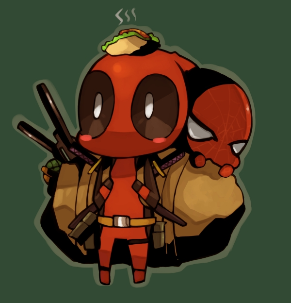 Tags: Anime, Pixiv Id 1154911, Spider-Man, Deadpool (Wade Wilson), Spider-Man (Character), Taco, Marvel, Pixiv