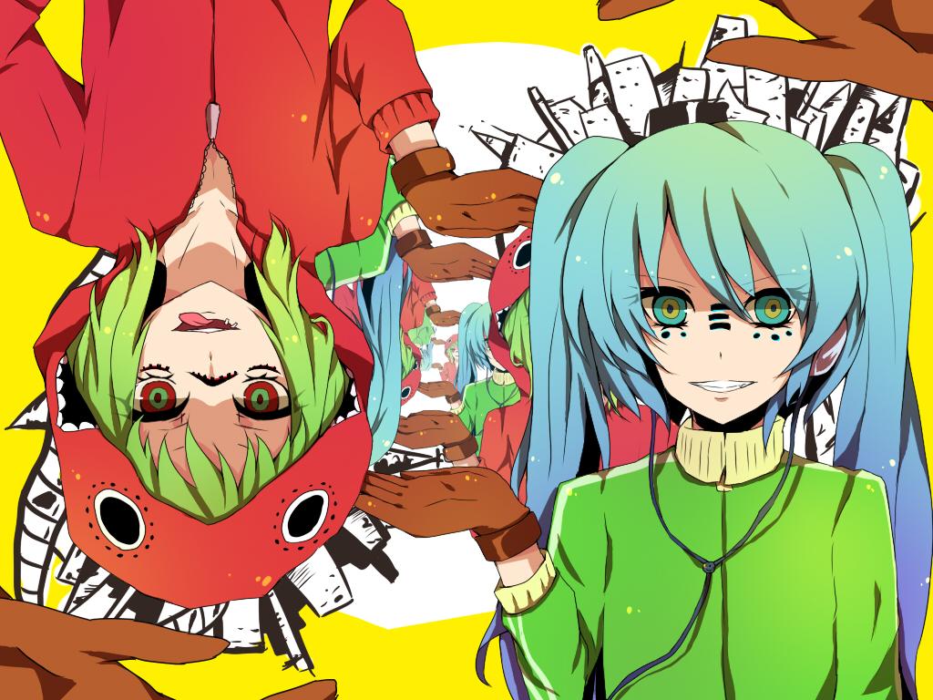 ... Roki, VOCALOID, Hatsune Miku, GUMI, 1024x768 Wallpaper, Green Outfit
