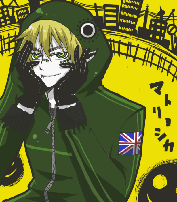 Tags: Anime, Ageha0810, Axis Powers: Hetalia, United Kingdom, Yellow Background, Smiley, Flag Print