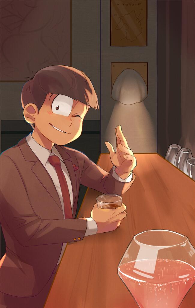 Tags: Anime, Pixiv Id 355576, Osomatsu-kun, Matsuno Osomatsu, Bar, Mobile Wallpaper