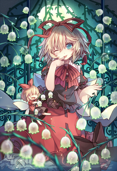 Tags: Anime, Hime03, Touhou, Su-san, Medicine Melancholy, Lily Of The Valley, Multi-colored Ribbon, Licking Finger Tip, Requested Upload, Pixiv, Mobile Wallpaper