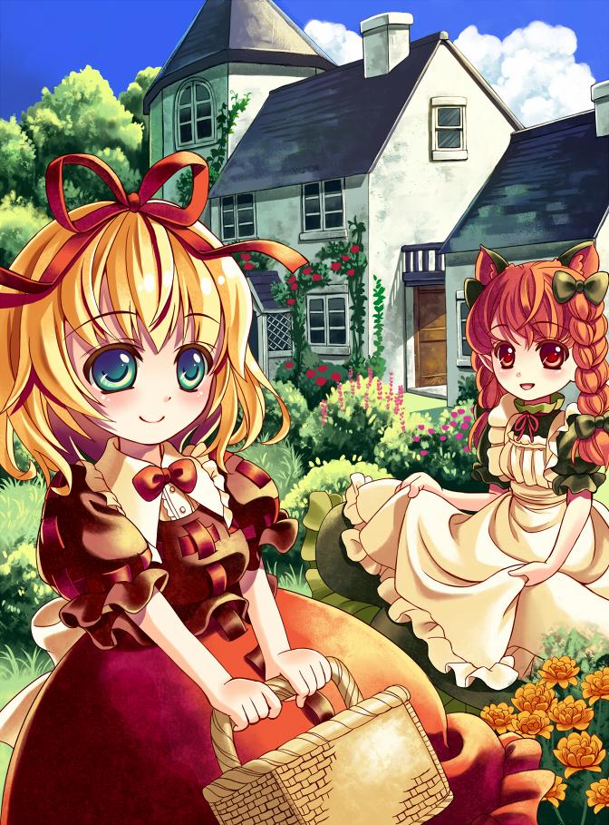 Tags: Anime, Douji, Touhou, Medicine Melancholy, Kaenbyou Rin, House, Multi-colored Eyes