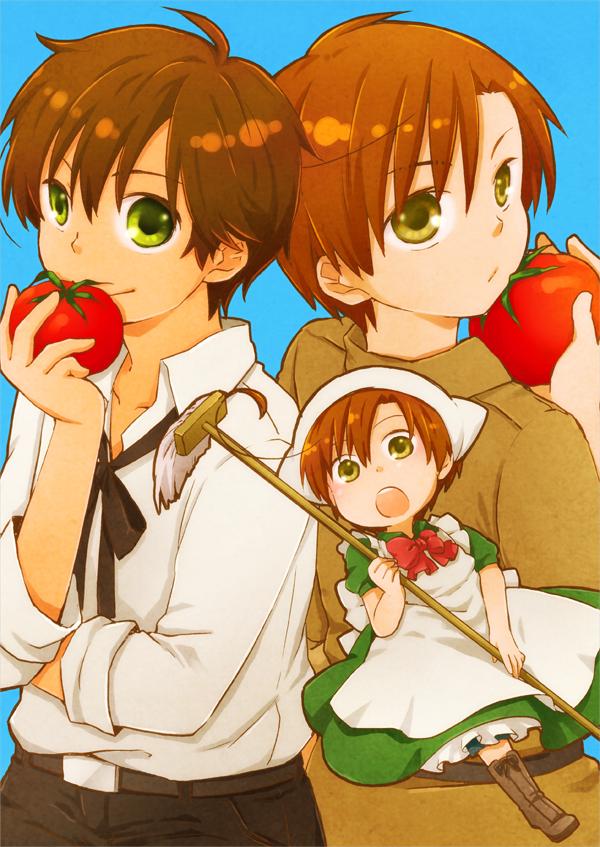 Tags: Anime, Rinko Sky, Axis Powers: Hetalia, South Italy, Spain, Pixiv, Mobile Wallpaper, Mediterranean Countries