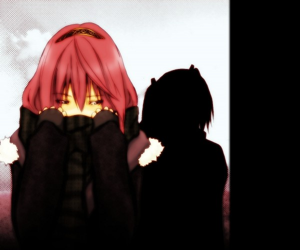 Tags: Anime, Shikabashita, Vocaloid, Megurine Luka, Silhouette, Sad, Looking to Side