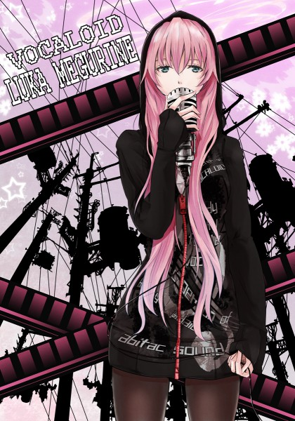 Tags: Anime, mille, VOCALOID, Megurine Luka, Wires, Utility Pole, Singing