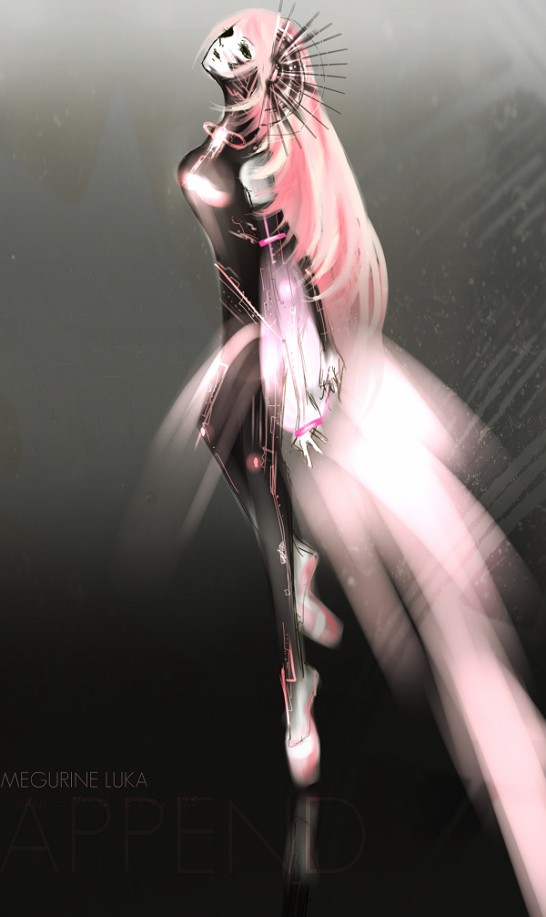 Tags: Anime, Alukaforyou, VOCALOID, Megurine Luka, Head Up, Futuristic Theme, Jumpsuit, Slender, Mobile Wallpaper, Append