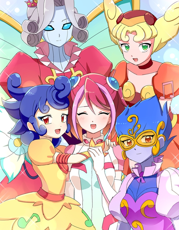 Tags: Anime, joman, Yu-Gi-Oh!, Yu-Gi-Oh! ARC-V, Canon the Melodious Diva, Mozarta the Melodious Maestra, Solo the Melodious Songstress, Hiiragi Yuzu, Bloom Prima the Melodious Choir, Fanart From Pixiv, Pixiv, Fanart, Melodious