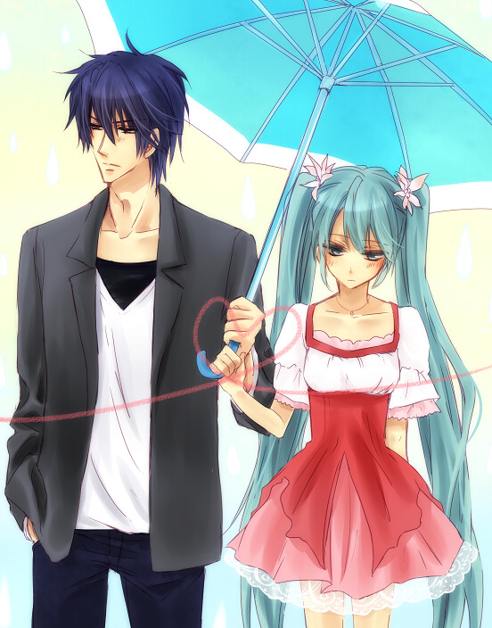 Tags: Anime, Kotomi (Pixiv684636), VOCALOID, Hatsune Miku, KAITO, Ai-Ai Gasa, Melt (Song), KaiMiku