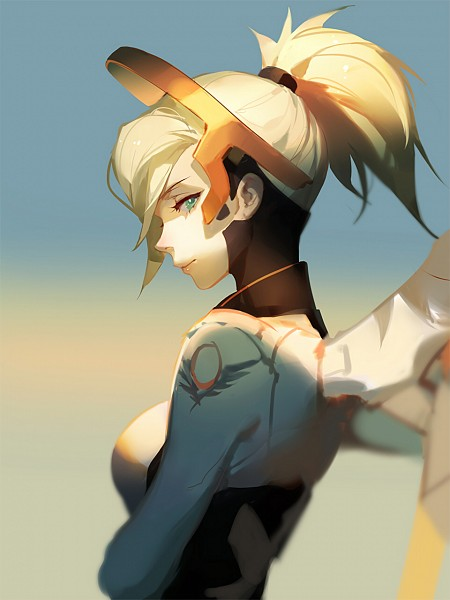 Tags: Anime, Asukaziye, Overwatch, Mercy (Overwatch), 3:4 Ratio, Mechanical Wings, Short Ponytail