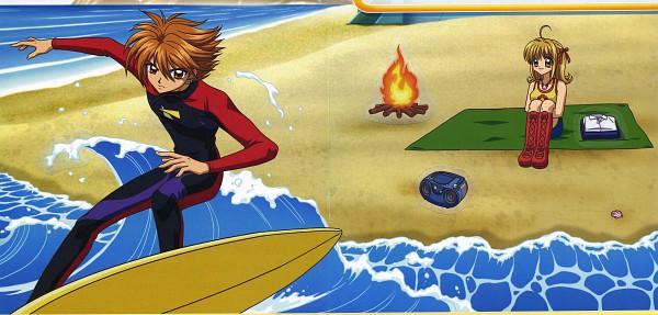 Tags: Anime, Beach, Ocean, Mermaid Melody Pichi Pichi Pitch, Nanami Lucia, Doumoto Kaito, Surfing