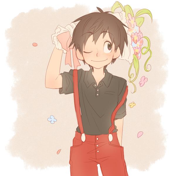 Tags: Anime, Kirita, Disney, Mickey Mouse, Pink Flower, Bouquet, Black Shirt